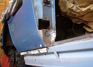 A-pillar rear section replaced and trial fir of wing