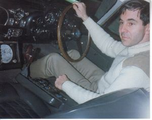 Nigel Ellway, looking very young, at the wheel of 007's Aston martin DB5, taking it VERY carefully through its paces!